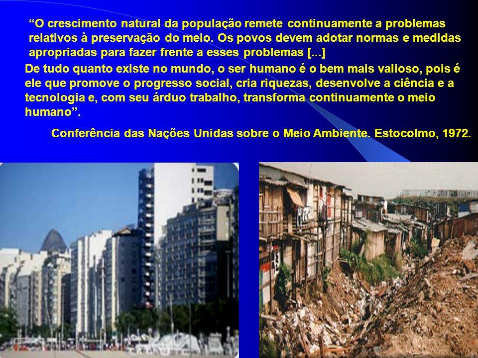 O crescimento natural da população remete continuamente a problemas relativos à preservação do meio. Os povos devem adotar normas e medidas apropriadas para fazer frente a esses problemas [...]